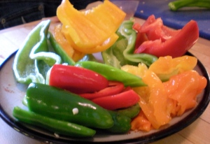 Red & yellow bell peppers, green & red jalapenos, two Italian green chiles, and five habaneros.