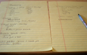 Prep list.  Yes, I am insane.